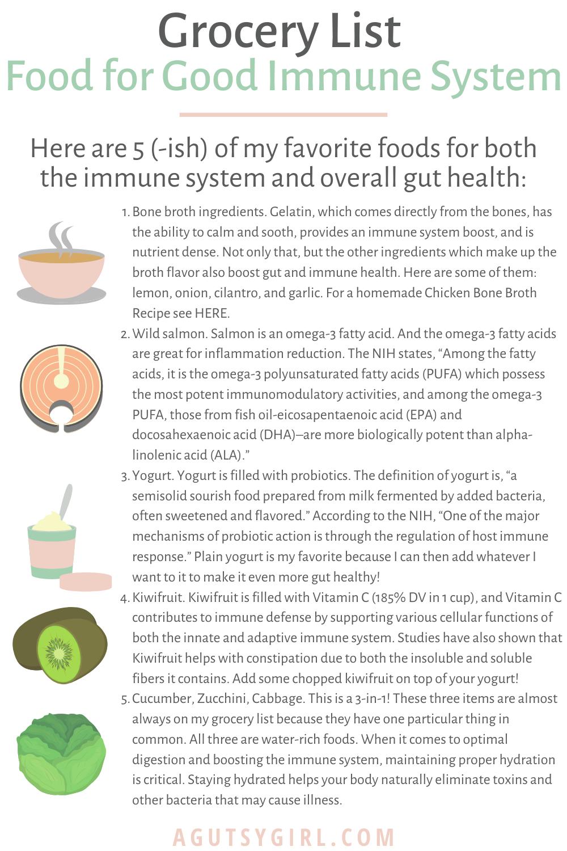 Immune Boosting Gut Health Support grocery list agutsygirl.com #grocerylist #guthealth #groceryhaul