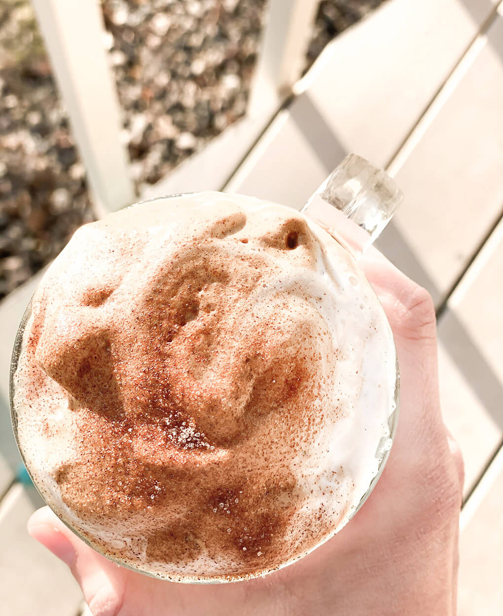 how to make gut healthy whipped coffee agutsygirl.com #healthyliving #guthealth #coffee top froth
