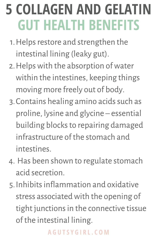 5 Collagen and Gelatin Gut Health Benefits agutsygirl.com #guthealth #collagen #gelatin
