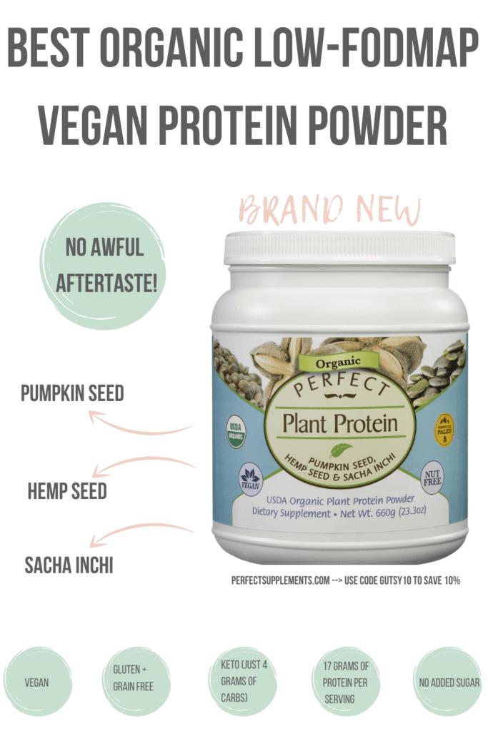 Best Organic Low-FODMAP Vegan Protein Powder #guthealth #lowfodmap #sibo #veganprotein