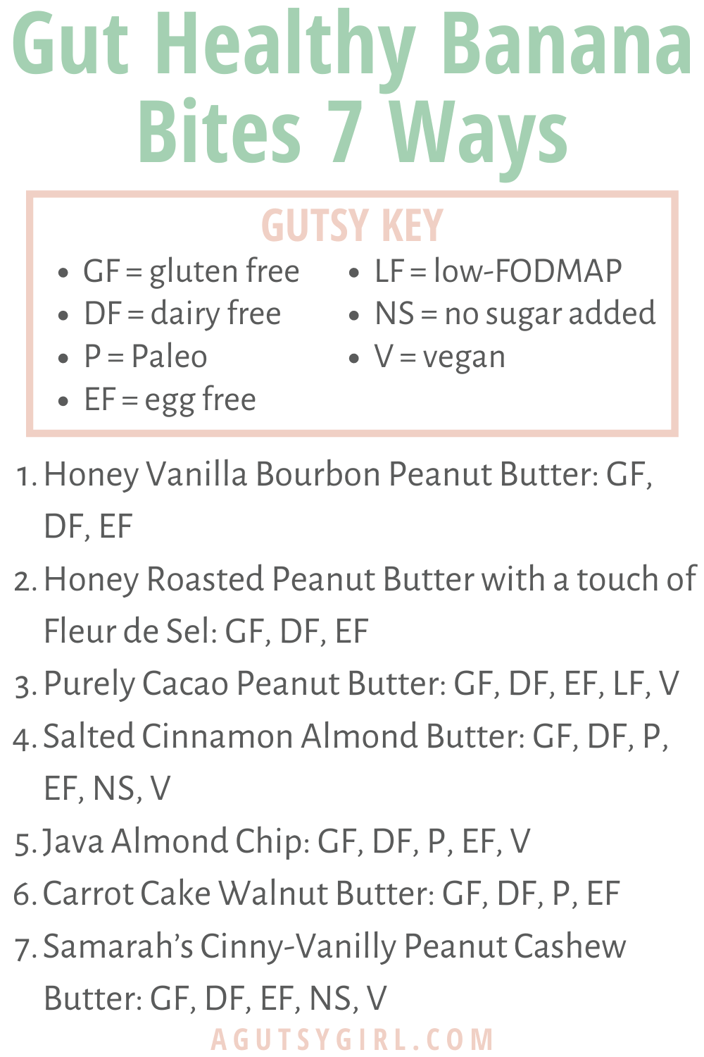 Gut Healthy Banana Bites 7 Ways agutsygirl.com How to make your own A Gutsy Girl nut butters #nutbutter #banana #guthealth Gutsy Key