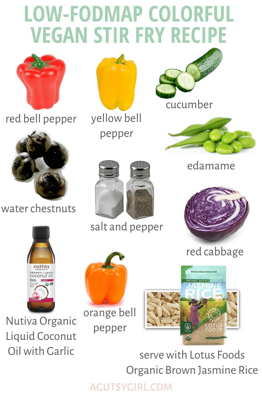 Low-FODMAP Colorful Vegan Stir Fry Recipe agutsygirl.com #lowfodmap #sibo #veganrecipe