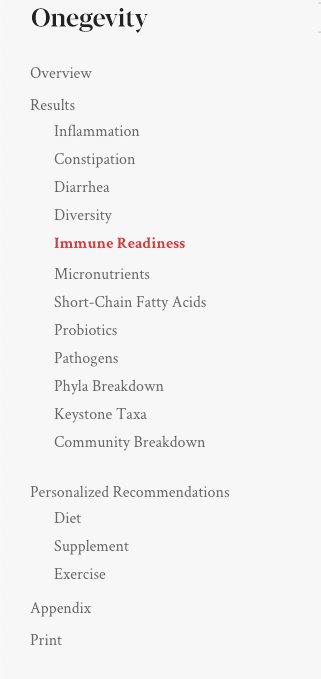 Peek Into My Personal Onegevity Microbiome Report and Review agutsygirl.com Gutbio #guthealth #productreview #immunesystem sections immune readiness