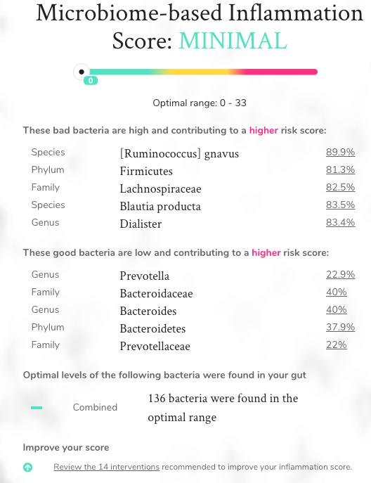 Peek Into My Personal Onegevity Microbiome Report and Review agutsygirl.com Gutbio #guthealth #productreview #immunesystem sections inflammation