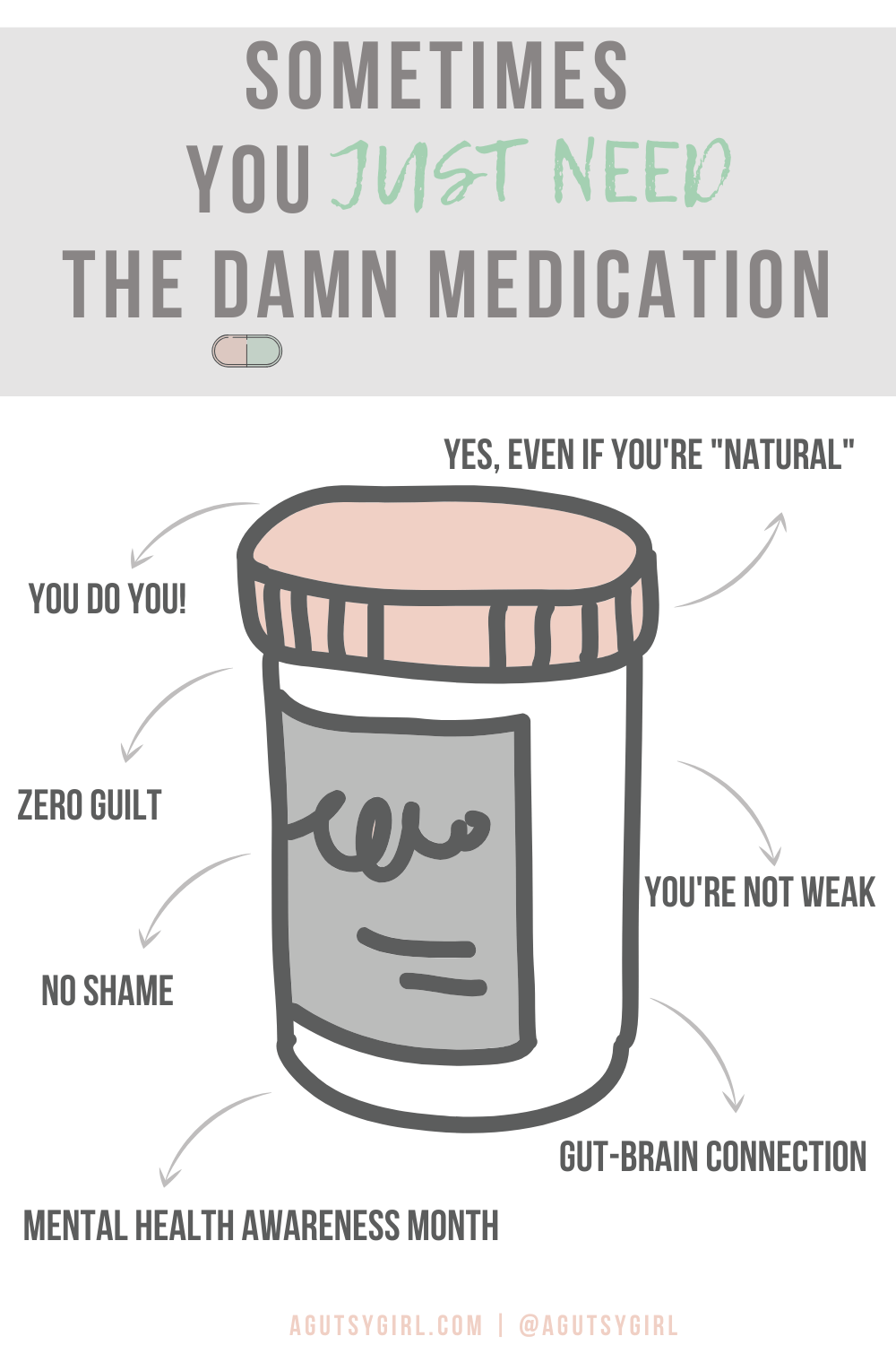 Sometimes You Just Need the Damn Medication agutsygirl.com #mentalhealth #mentalhealthawareness #guthealth