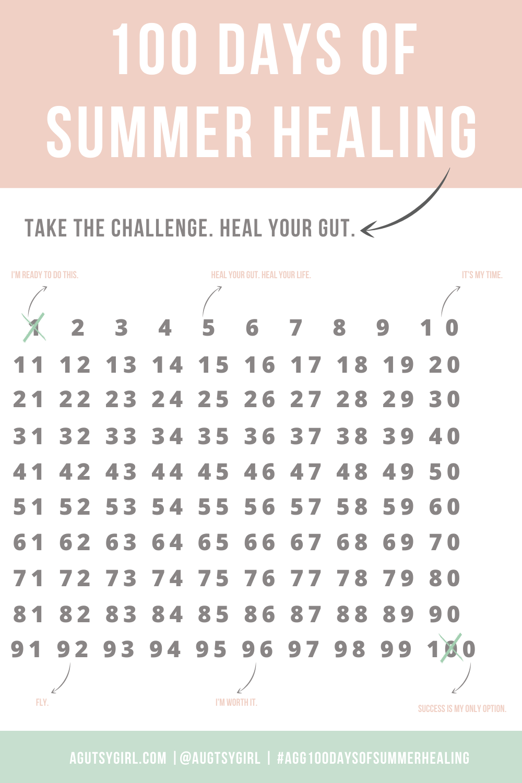 100 Days of Summer Healing with A Gutsy Girl agutsygirl.com #guthealth #healing #100daysofsummer #challenge