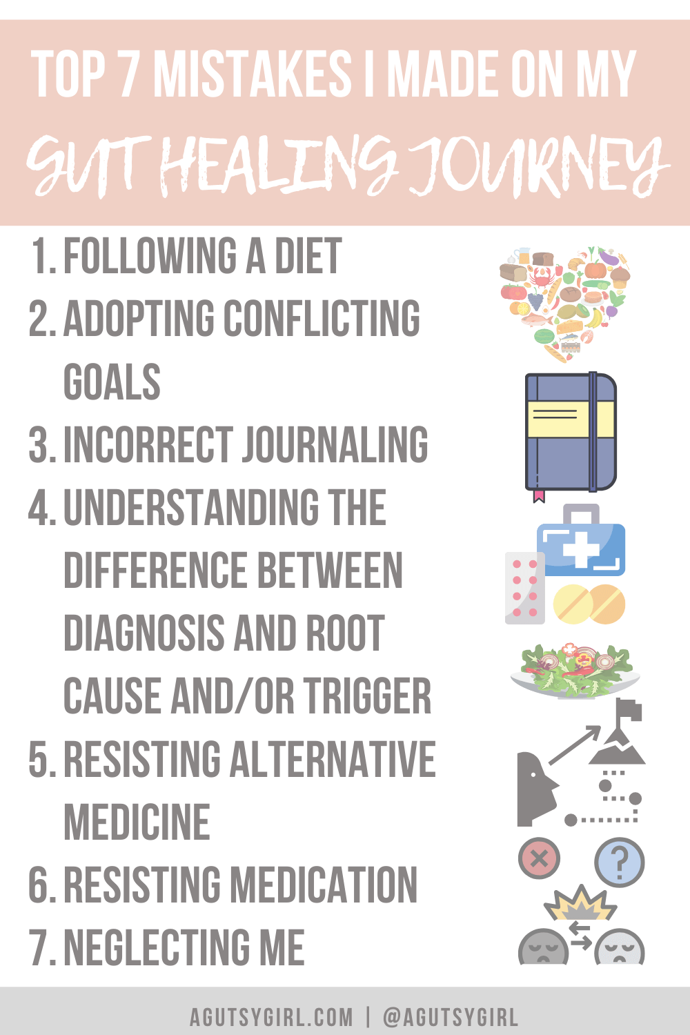 Top 7 Mistakes I Made on My Gut Healing Journey agutsygirl.com #guthealth #guthealing #ibs