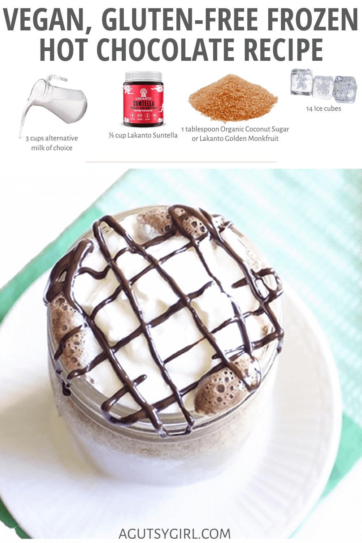 Vegan, Gluten-Free Frozen Hot Chocolate Recipe agutsygirl.com #dairyfreerecipes #veganrecipes #agutsygirl