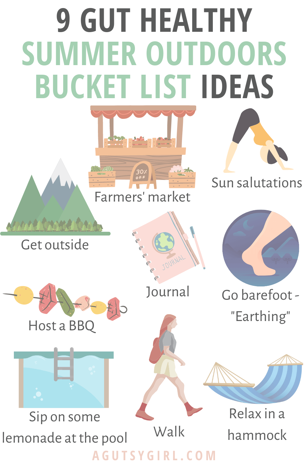 9 Gut Healthy Summer Outdoors Bucket List Ideas agutsygirl.com #guthealth #bucketlist #healingjourney