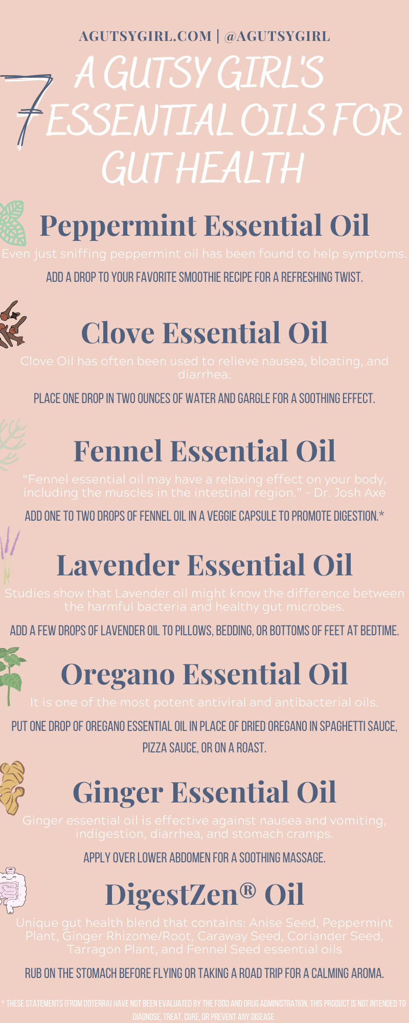 A Gutsy Girl's 7 Essential Oils for Gut Health agutsygirl.com #guthealth #essentialoil #essentialoils