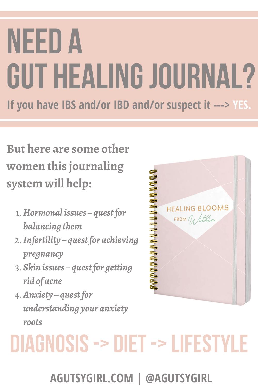 Do you need a gut healing journal? agutsygirl.com #guthealth #guthealing #journal #foodjournals