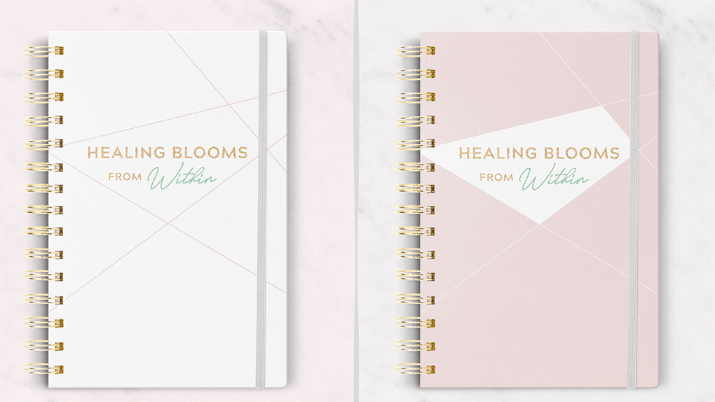 Healing Blooms from Within pink and white journal covers for gut healing journaling BUJO autsygirl.com #bujo #guthealth #journaling #newyear elimination diet