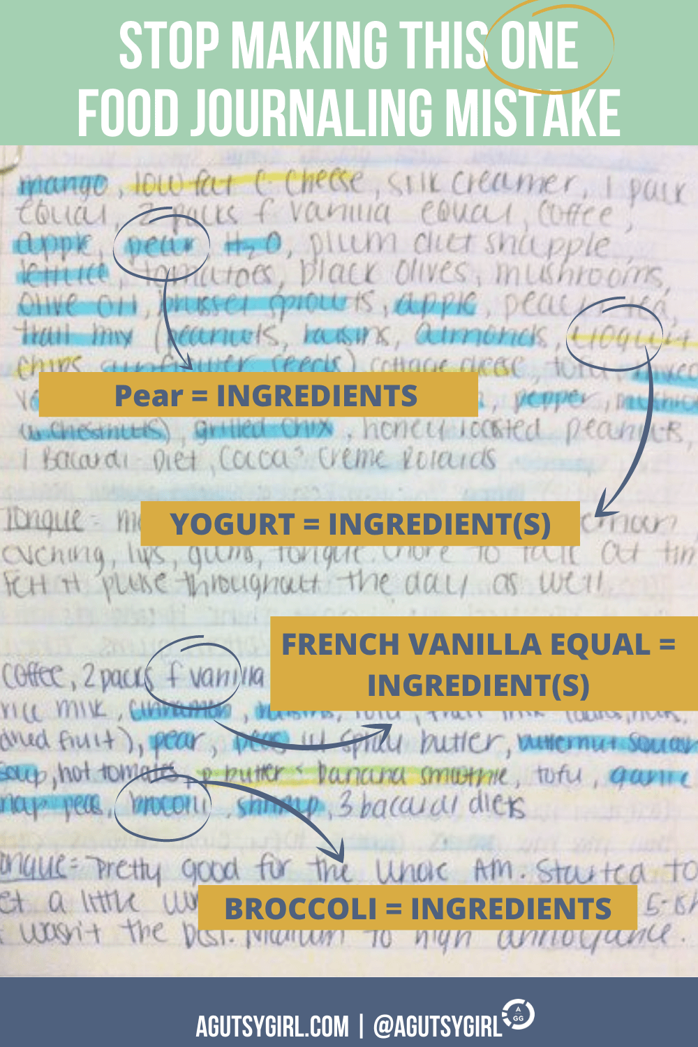 Stop Making This One Food Journaling Mistake agutsygirl.com old food journal ingredients #foodjournal #eliminationdiet #guthealth journal