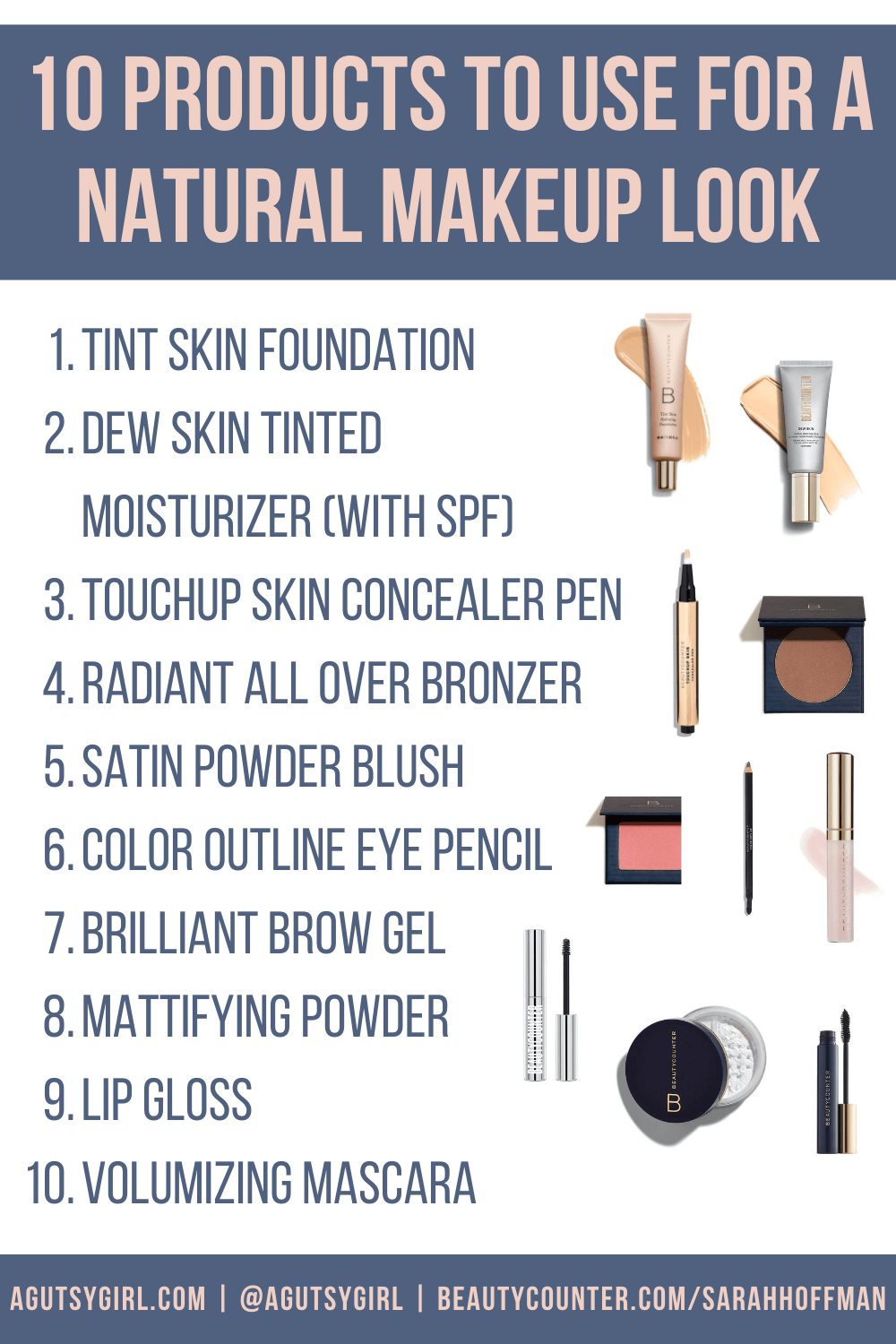 10 products to use for a natural makeup look after perioral dermatitis agutsygirl.com #guthealth #beautycounter #nontoxicmakeup #acne #dermatitis