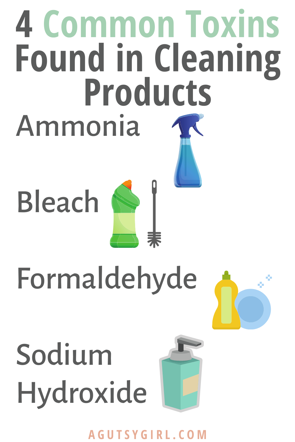 4 Common Toxins Found in Cleaning Products formaldahyde agutsygirl.com #cleaningproducts #guthealth #toxins #chemicals