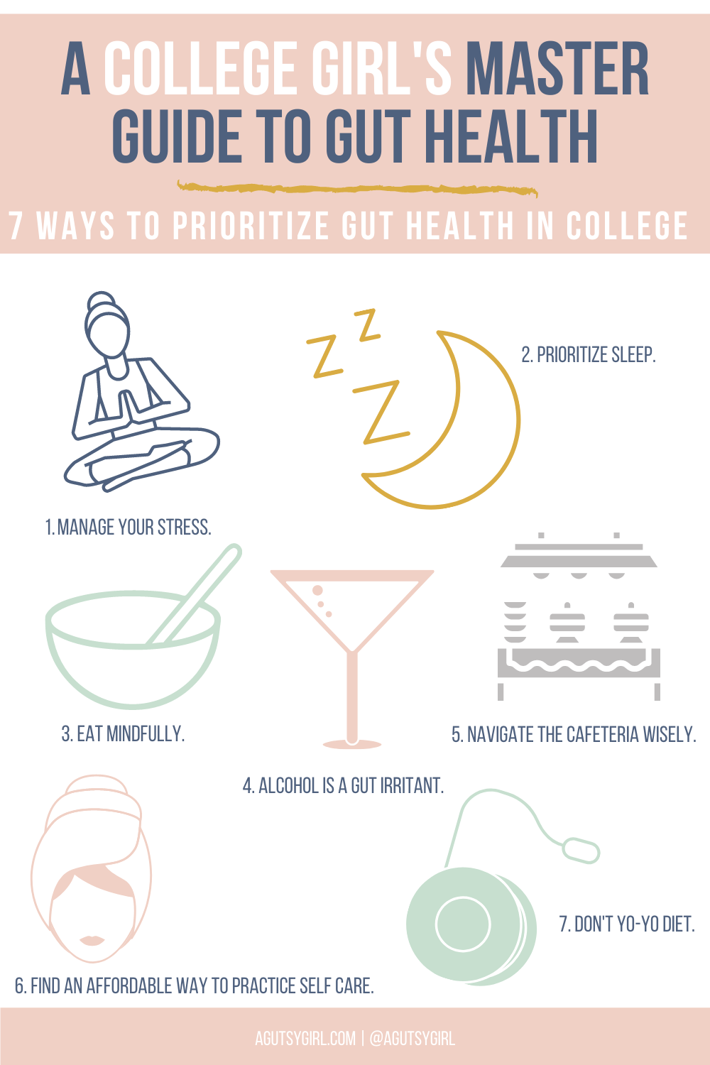 A College Girl's Master Guide to Gut Health agutsygirl.com #college #backtoschool #guthealth #dormlife