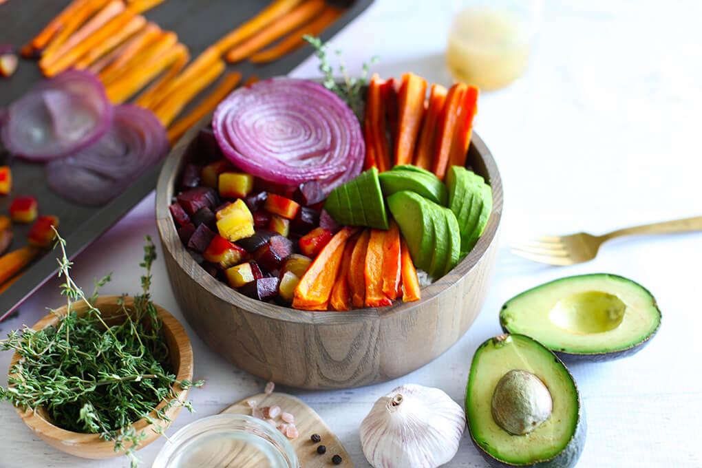 Root Vegetable Vegan Buddha Bowl agutsygirl.com #buddhabowl #buddhabowls #veganrecipes veggies