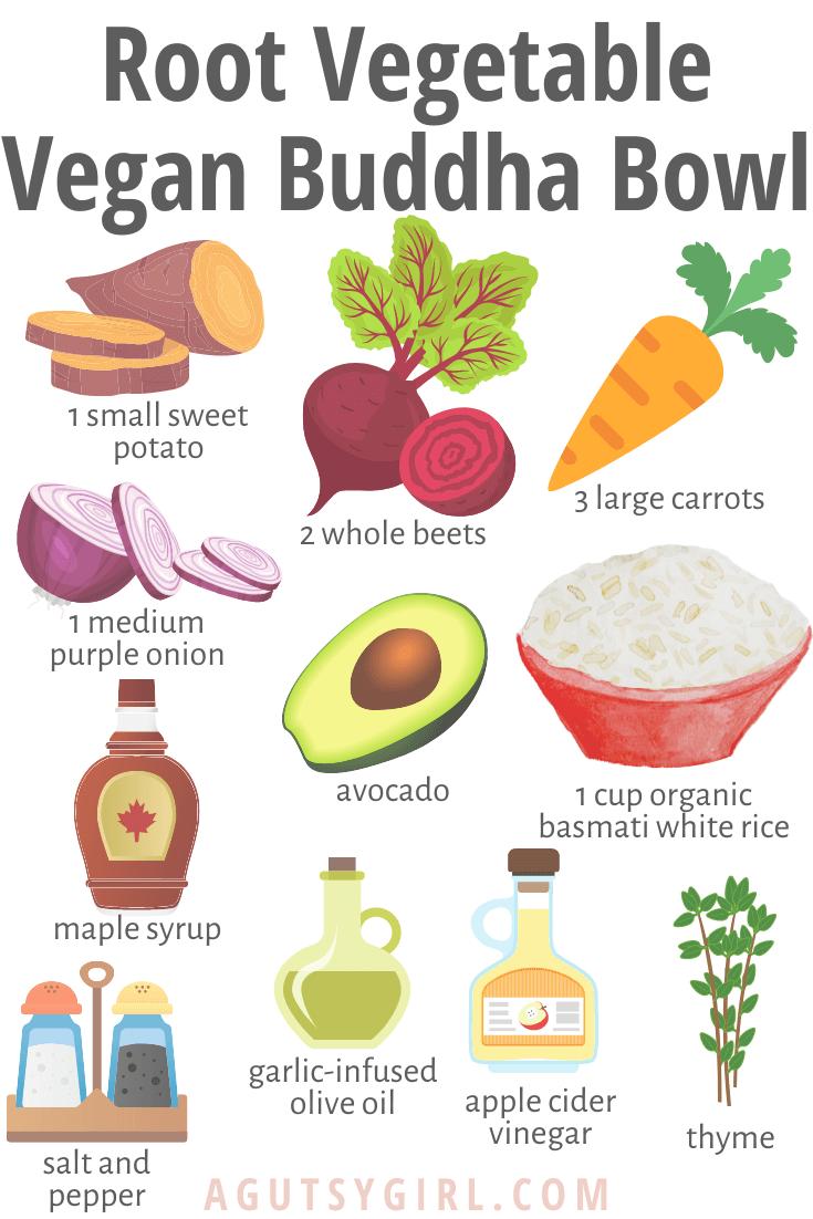 Root Vegetable Vegan Buddha Bowl agutsygirl.com #guthealth #rootvegetables #buddhabowl #veganrecipes