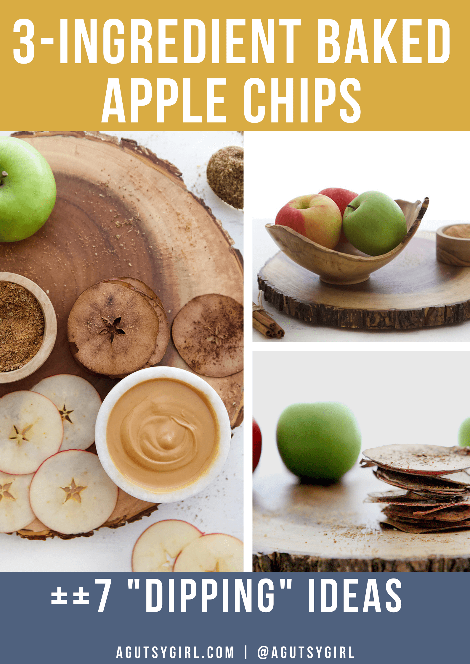 3-Ingredient Baked Apple Chips agutsygirl.com #applechips #glutenfreerecipes #apples