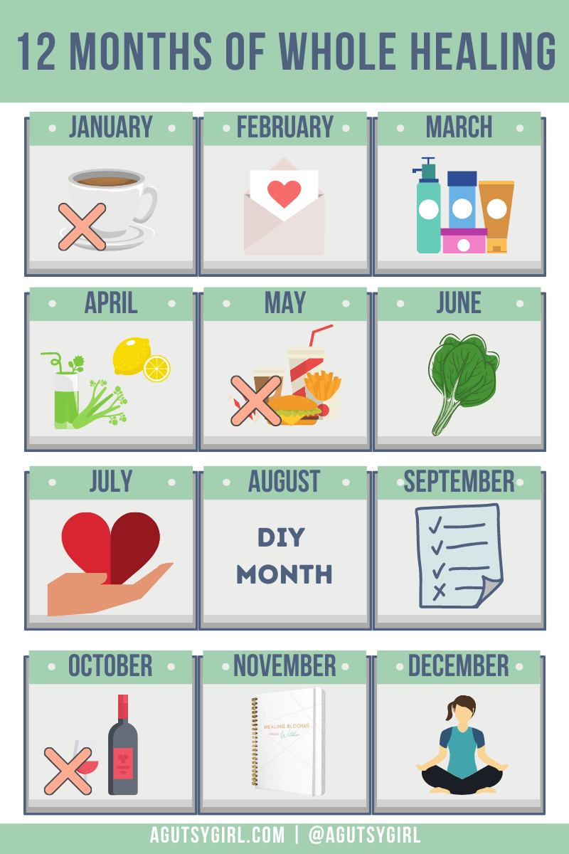 12 months of whole healing free experiments monthly calendar agutsygirl.com #healthchallenge #healthchallenges #mindbodygut #guthealth monthly challenges