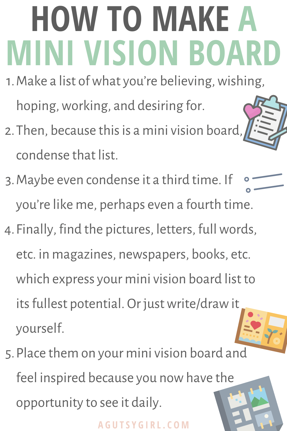 How to Make a Mini Vision Board agutsygirl.com #visionboard #newyearsgoals #newyearsresolutions #healingjourney