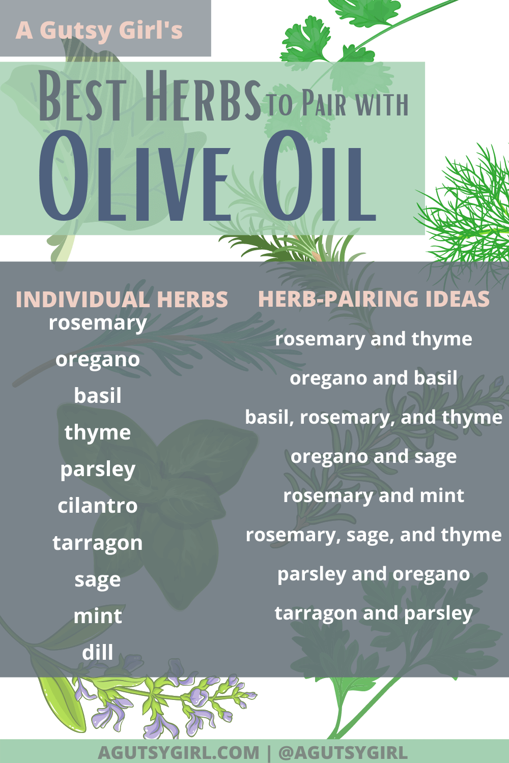 Best Herbs to Pair with Olive Oil agutsygirl.com #oliveoil #herbs #diy #guthealth