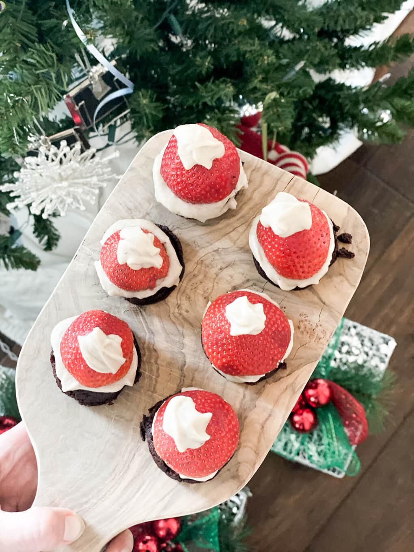Santa Hat Brownie Homeschooling athymeformilkandhoney.com baking with kids #bakingwithkids #santahat #glutenfreebaking #homeschooling