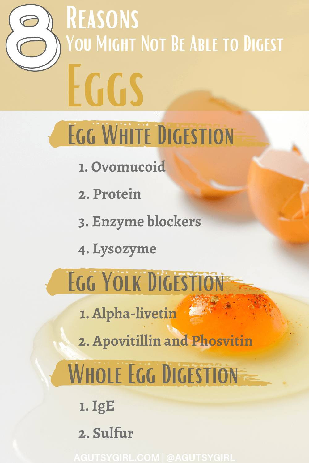 8 Reasons Why You Might Not be Able to Digest Eggs agutsygirl.com #eggallergy #eggs #eggintolerance