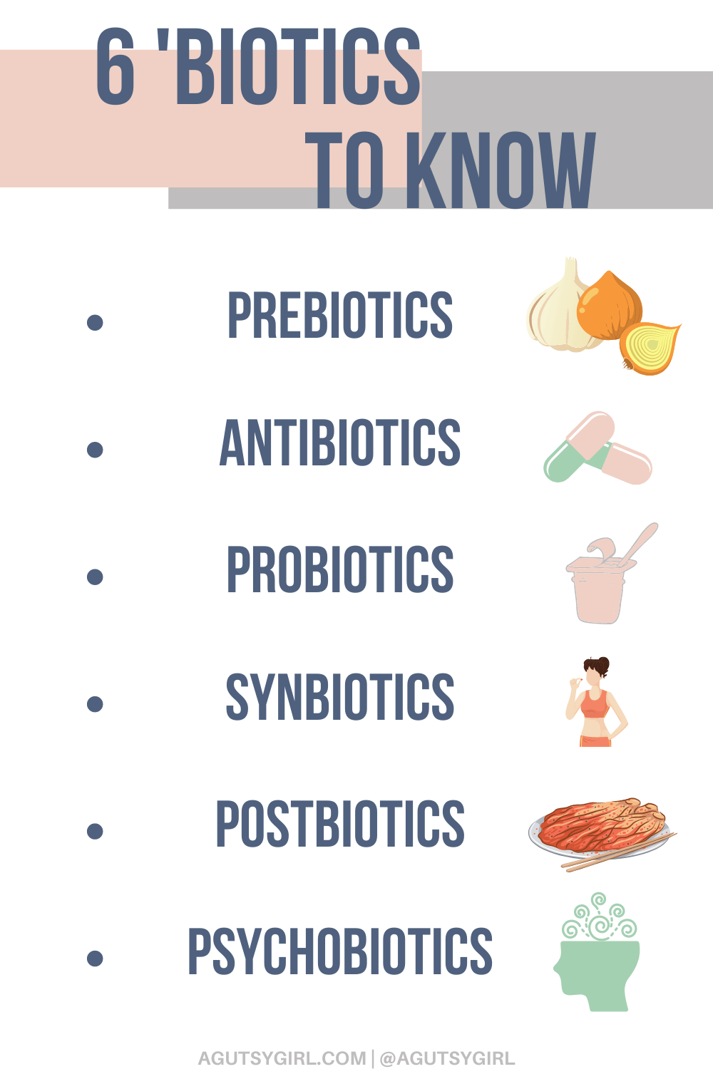 Psychobiotics + 5 other biotics to know agutsygirl.com #probiotics #psychobiotics #antibiotics