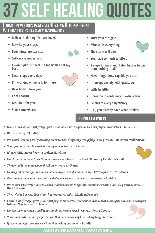 37 Self Healing Quotes Emotional Health agutsygirl.com #selfhealing #journalprompts #healingquotes
