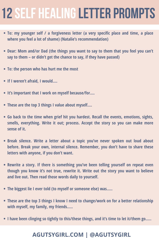 Self Healing Letter Prompts agutsygirl.com #journalprompts #guthealth #journalingprompts