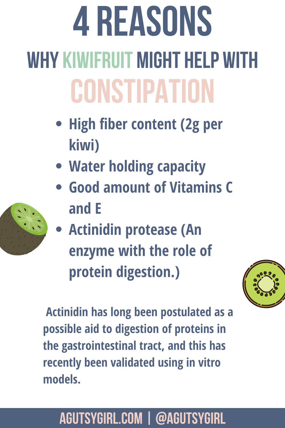 4 reasons why Kiwi for constipation agutsygirl.com #constipation #guthealth #kiwifruit