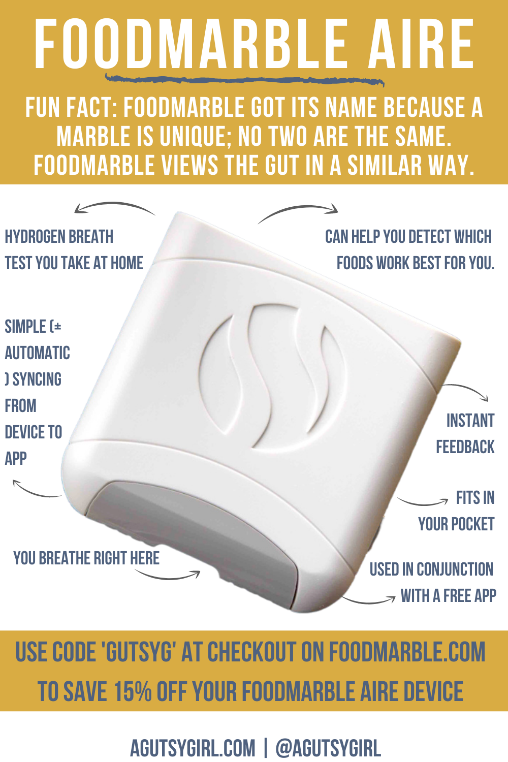 FoodMarble AIRE Hydrogen Breath Test at Home agutsygirl.com #foodmarble #healthtech #hydrogen #SIBO