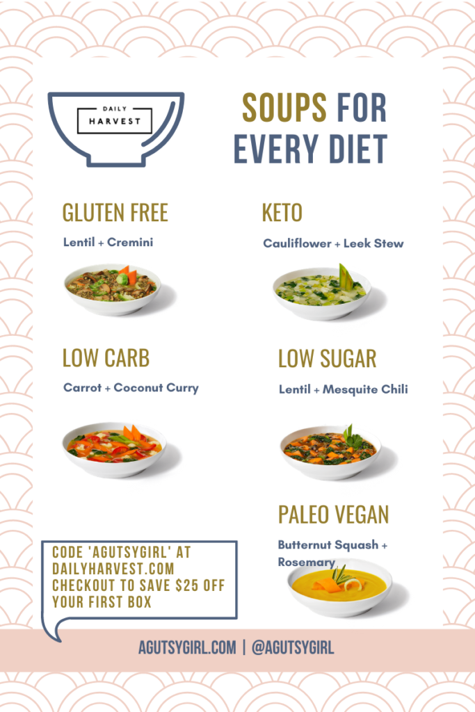 Harvest Bowl Daily Harvest order recipes agutsygirl.com #dailyharvest #harvestbowl #dailyharvestrecipe soups