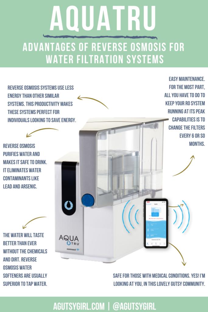 AquaTru Advantages of Reverse Osmosis for Water Filtration Systems agutsygirl.com #reverseosmosis #aquatrue #waterfilter